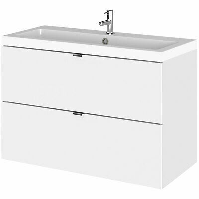 Hudson Reed Fusion Wall Hung 2-Drawer Vanity Unit Basin 800mm Wide - Gloss White