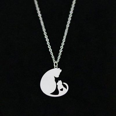 Stainless Steel Couple Cat Pendant Necklace Charm Jewelry For Mother's Day Gifts