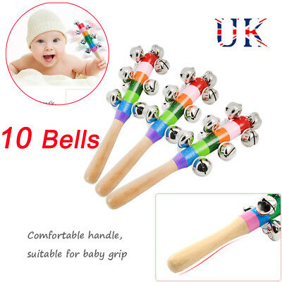 Rainbow Musica Instrument Baby Kids Wooden Handle Bell Jingle Xmas Rattle Toy UK