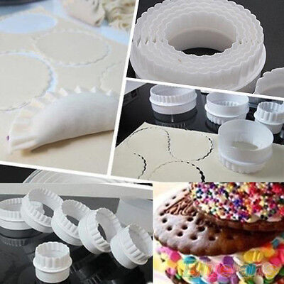 JN_ 6Pcs Home Round Plastic Scalloped Cookie Pastry Foundant Cake Cutter Molds