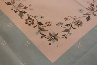 Vintage Sweet Cotton Kitchen Tablecloth 44x48 Folky Flowers
