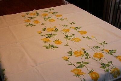 Vintage Cotton Kitchen Tablecloth Wilendure Tag 46x54 Shaded Yellow Roses
