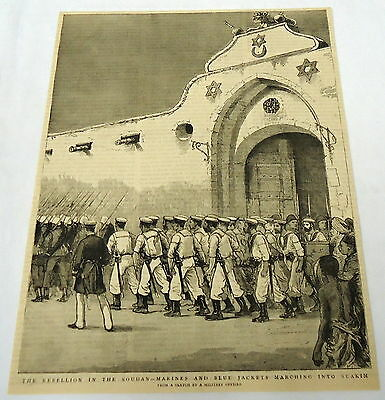 1884 magazine engraving ~ REBELLION IN THE SUDAN Marines marching into Suakim