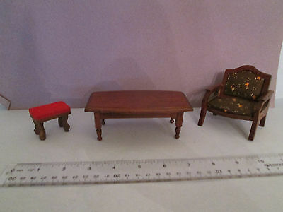 Vintage Miniature DOLL HOUSE FURNITURE 1960's-70's Shackman's table,chair, bench