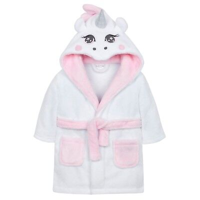 Baby Girls Unicorn Dressing Gown Fluffy Hooded Novelty 6-12 12-18 18-24 Months