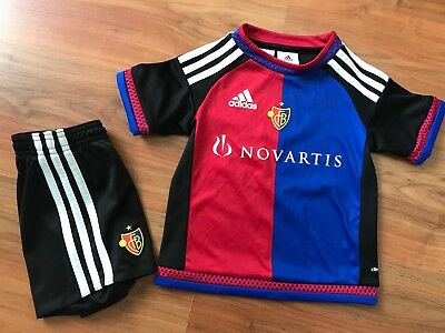 Boys ADIDAS FC BASEL HOME FOOTBALL Shirt Shorts KIT (age2-3) *GREAT COND*