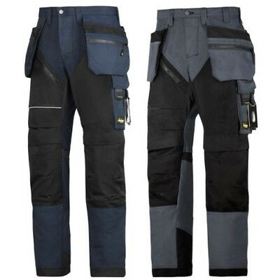 Snickers Workwear Ruffwork Trousers With Holster Pockets Navy & Steel Grey 6202