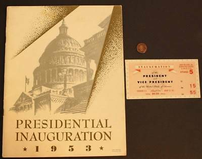 1953 Dwight Eisenhower-Richard Nixon Presidential Inauguration Program & Ticket!