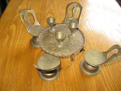 Vintage BRASS MINIATURE TABLE AND CHAIRS  WITH 3 BRASS WINE GOBLET  dollhouse