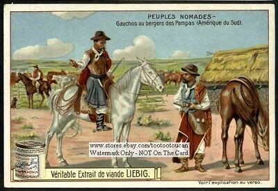 South American Gauchos Pampas Horse Rides Argentina c1905 Trade Ad Card