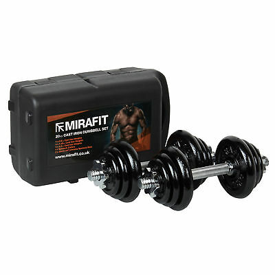Mirafit 20kg Cast Iron Dumbbell Free Weights & Case Fitness/Exercise Dumbells