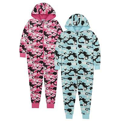 Childrens Camo Hearts Soft Fleece Onezee Sleepsuit 7-13 Year Jumpsuit All in One