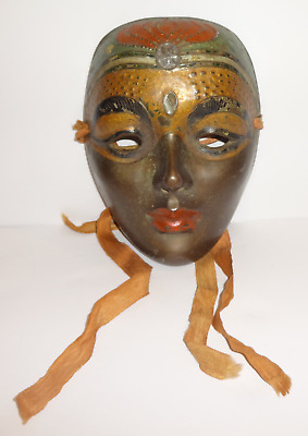Antique Vintage Hand Painted Bronze Face Wall Hanging Tribal Ethnic Mask