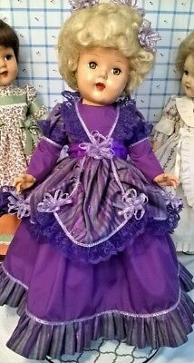 "PERIOD DRESS by SSO fits 18""&19"" VINTAGE DOLLS w/8 3/4"" WAIST F&B LADY-P92 TONI"
