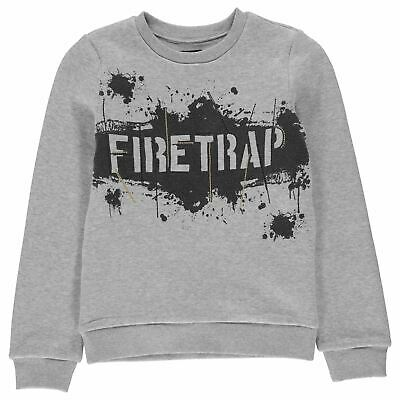 Firetrap Kids Boys Crew Neck Sweatshirt Junior Sweater T Shirt Top Jumper