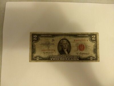 Series of 1953 Two Dollar $2 Bill Red Seal United States Currency