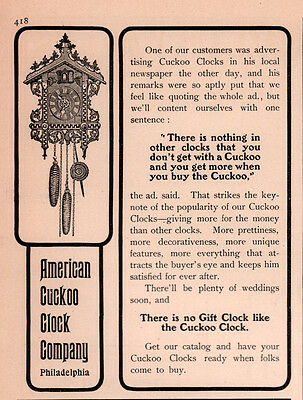 Ad Lot Of 2 1900's - 1902 A Ads  American Clock Co Cuckoo Clock