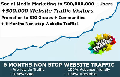 50,000,000 Social Media Marketing Promotion and 500,000 Website Traffic For SEO