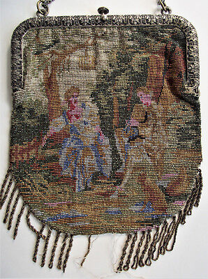 Antique SCENIC MICRO BEADED PURSE Courting WOMAN MAN DOG Steel Handbag Bag VTG