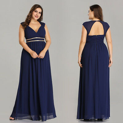 EVER-PRETTY US PLUS Size Bridesmaid Dresses Long Chiffon Formal Prom ...