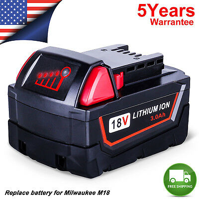 For Milwaukee 48-11-1820 M18V Lithium 48-11-1828 Tool Compact Battery Pack 3.0Ah