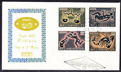 San Marino 1970 Signs of Zodiac First Day Cover Unaddressed