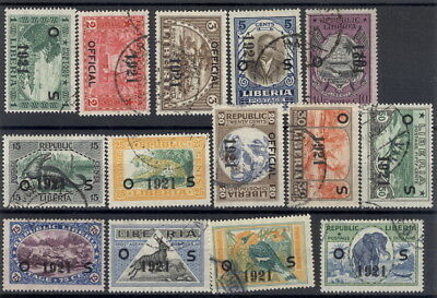 Liberia 1921 overprint pictorial set of 14 officials, used #O127-40 animals bird