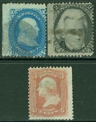 EDW1949SELL : USA 1868 Sc #86-88 Used. Minor faults. Light cancels. Catalog $607