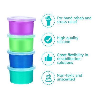 ROSENICE 4pcs Therapy Putty Toy Stress Relief Plasticine for Recovery Exercise