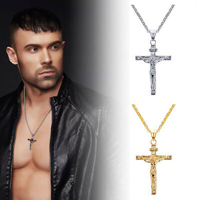 Mens Fashion Jewelry Stainless Steel Crucifix Jesus Cross Pendant Necklace Chain