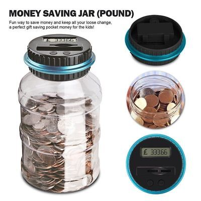 Large Digital LCD Pound Coin Counter Saving Jar Money Box Piggy Bank Coins 2.5L