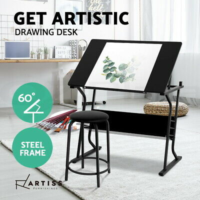 Drawing Desk Drafting Table Craft Adjustable Glass Art Tilt Drawers Black Metal