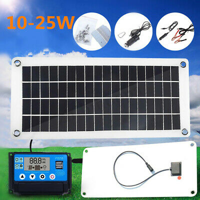 10W-25W Solar Panel Kit 12V/5V DC Battery Charge 40A/50A Controller Caravan Boat