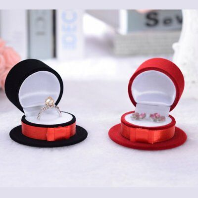 Fashion Bow Hat Velvet Engagement Wedding Earrings Ring Jewelry Display Box Gift
