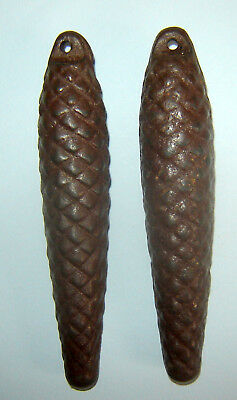 "Pair Old Vintage Pine Cone Cuckoo Clock Weights Collectibles 6"" length"