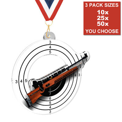 RIFLE GUN SHOOTING ACRYLIC MEDALS 50mm, PACK OF 10 & RIBBONS, 3 PACK SIZES