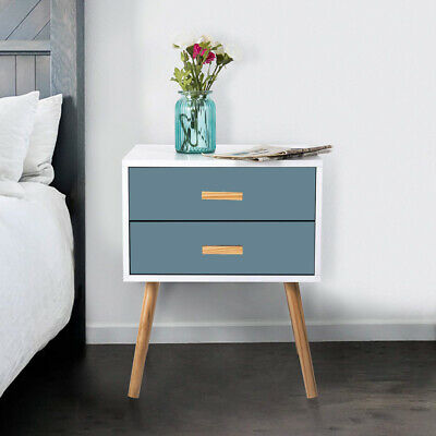 Pair Of Bedside Table Shabby Chic Unit Cabinet W/ Drawer Nightstand Wicker Woode