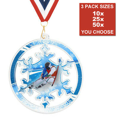SKIING SLALOM DOWNHILL ACRYLIC MEDALS 50mm PACK OF 10 & RIBBONS, 3 PACK SIZES