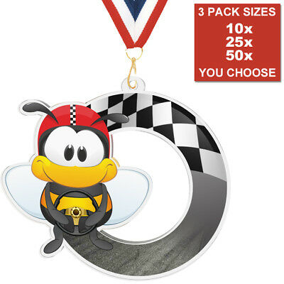 KIDS CAR RACING GO KART ACRYLIC MEDALS 50mm PACK OF 10 & RIBBONS 3 PACK SIZES
