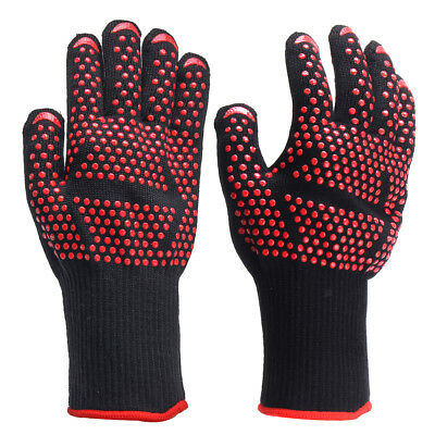 Fireproof BBQ Heat Resistant Silicone Gloves Kitchen Oven Cooking Hot Mitts