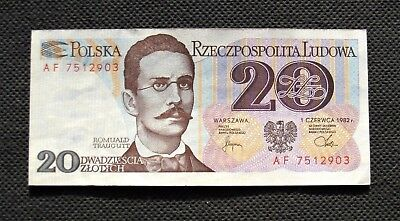Bank Note Poland (People's Republic) 20 Zloty R.traugutt (Excellent Condition)