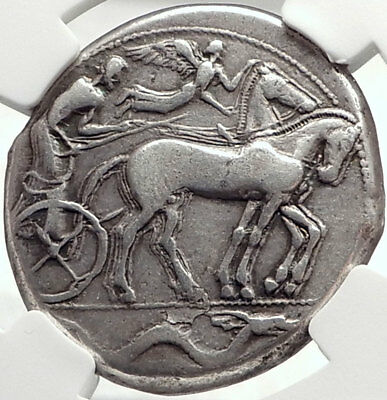 SYRACUSE Sicily 2nd Democracy 450BC RARE R1 Silver Tetradrachm Coin NGC i68726