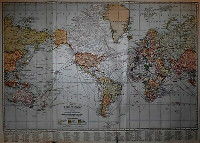 Antique Post-WWI 1921 World Atlas Map The World & United States of America USA