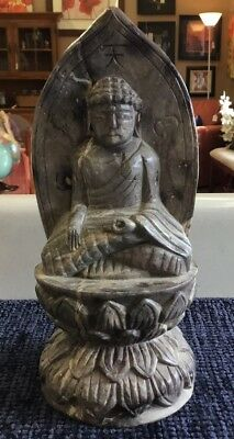 """Vintage Hand Carved Solid Marble Stone Chinese Buddha Statue Figurine 9 1/2"""""""
