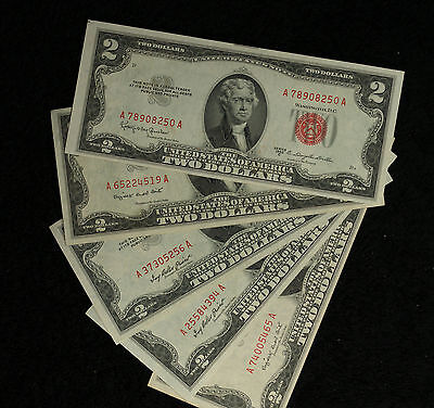 Five Nice Uncirculated Series 1953 $2 Red Seal United States Notes