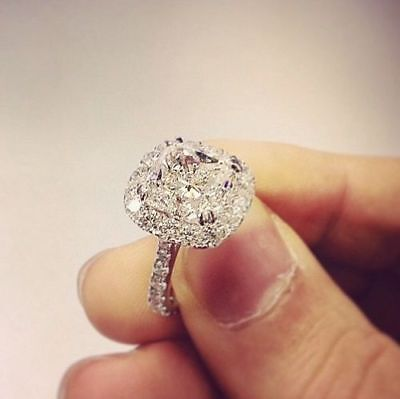 2.00Ct Cushion Cut Diamond Halo Lovely Engagement Ring 14K Real White Gold