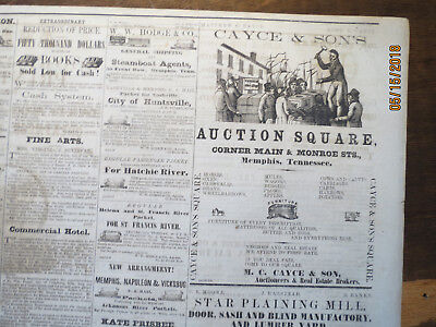 Memphis History Newspaper 1858 NEGRO SLAVES BOUGHT SOLD AUCTION SQUARE AVALANCHE