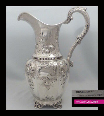 HUGE ANTIQUE 1880s AMERICAN STERLING/COIN SILVER REPOUSSE WATER PITCHER 13in.