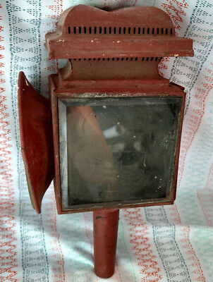 Antique Carriage Lamp Lantern Red Dot & Clear Lens Oil Bracket Painted Primitive