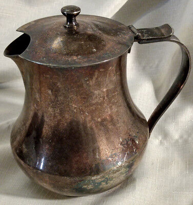 "Meneses Spain Silverplate Lidded Pitcher Coffee Tea Pot 6"" VTG Antique 09716"